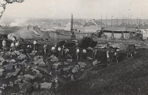 The site of the British Aluminium Works being prepared for building in 1895