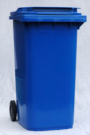 Photograph of a blue wheelie bin