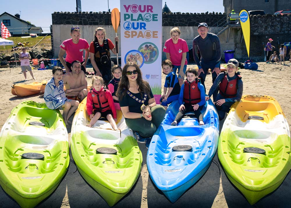 Mayor of Mid and East Antrim Borough Council, Cllr Lindsay Millar, pictured with staff and participants at the Ballygalley Beach Bonanza in June 2018
