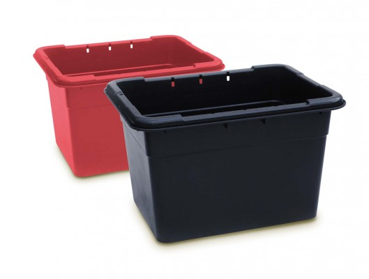 Photograph of red and black kerbie recycling boxes