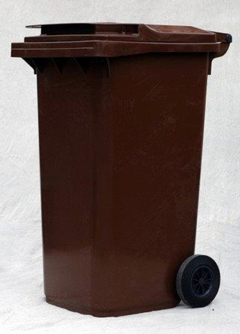 Photograph Of A Brown Wheelie Bin