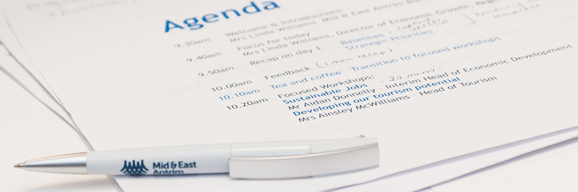 Photograph of an agenda from a Task and Finish workshop