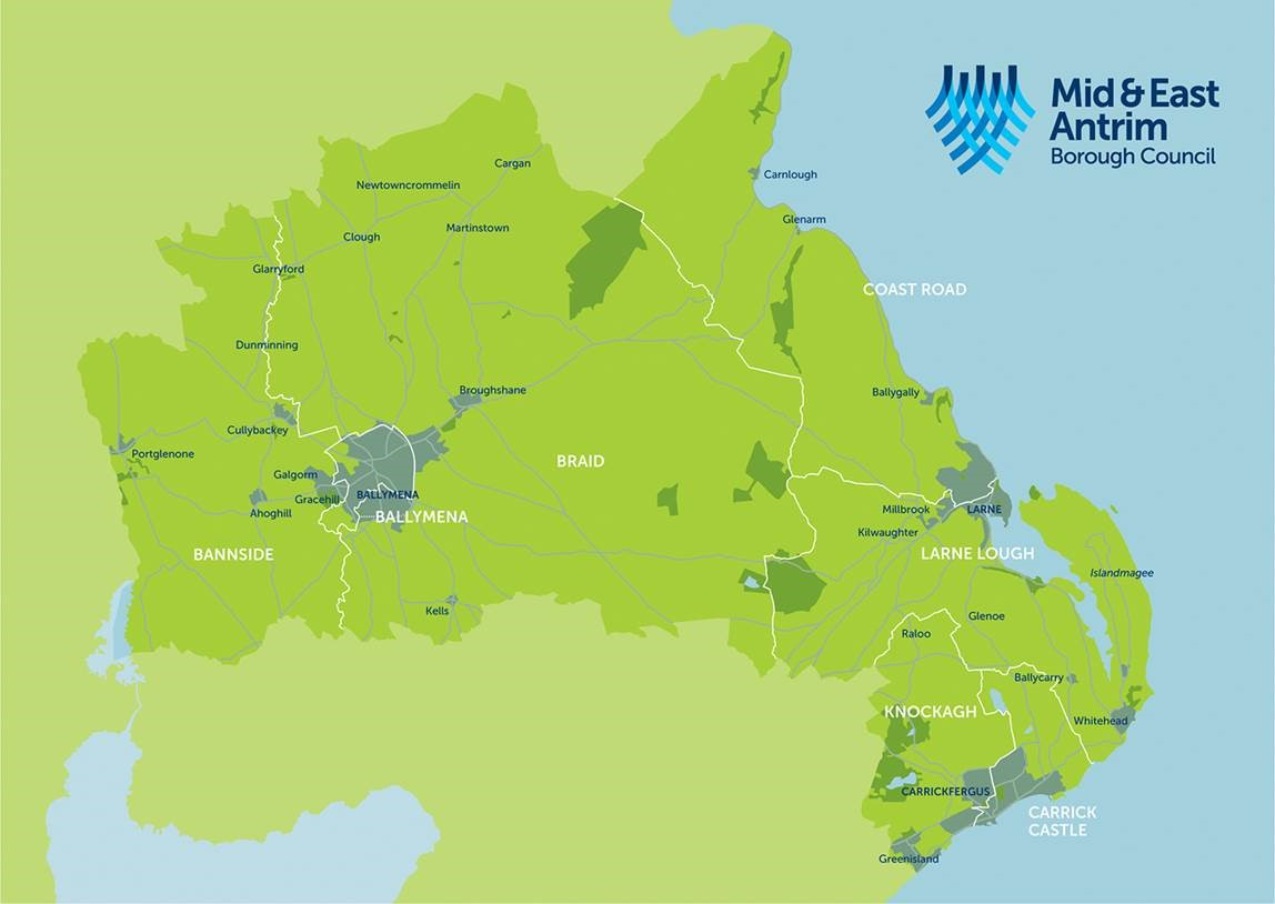 Image of the Mid and East Antrim Borough Map