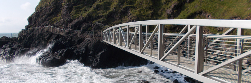 A bridge at the Gobbins Cliff path