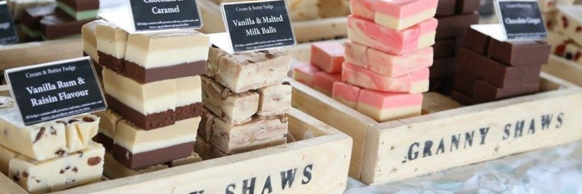 Photograph of some of Granny Shaw's Fudge products