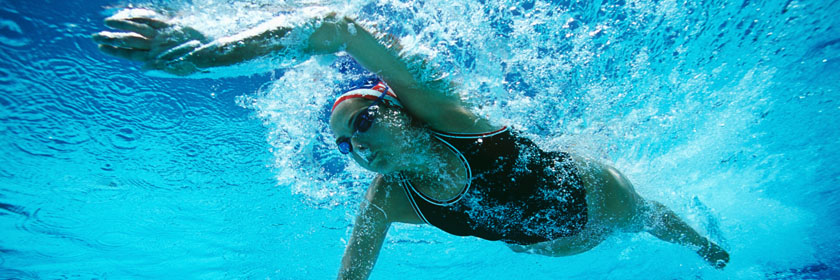 Photograph of someone in a swimming pool
