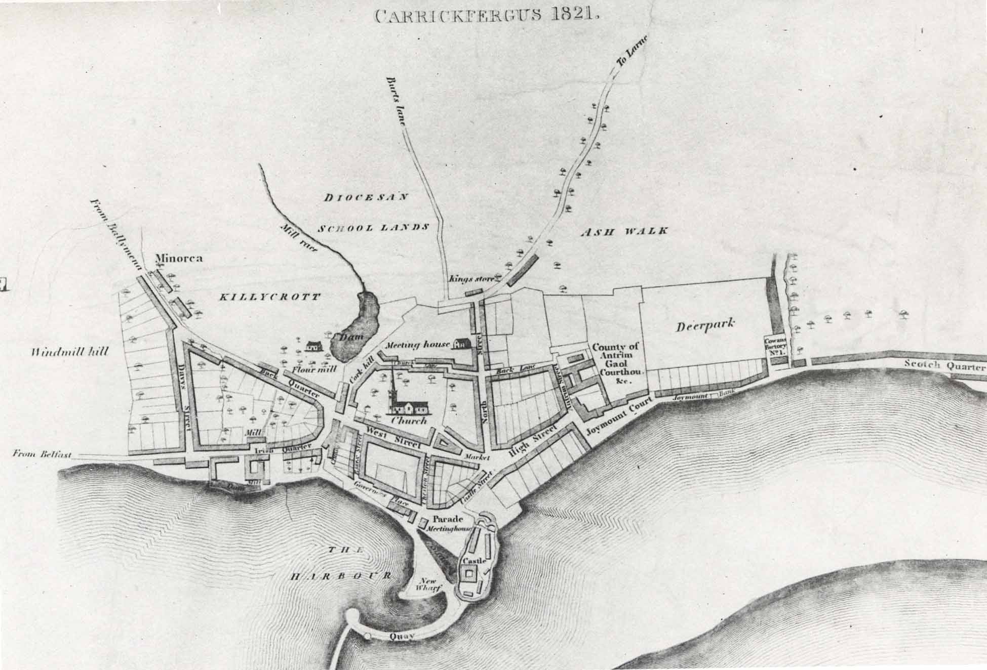 Map of Carrickfergus in 1821