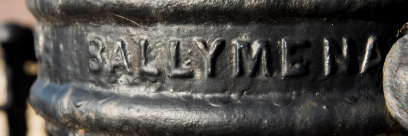 Photograph of the word Ballymena on an old street lamp