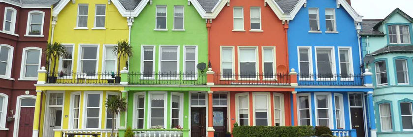 Photograph of the coloured houses in Whitehead