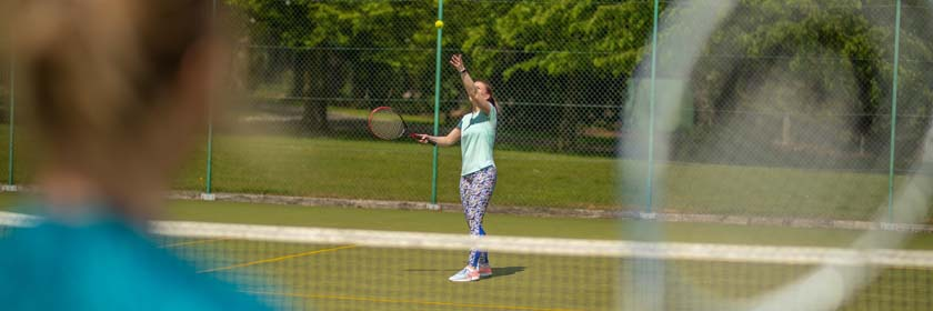 Two girls playing tennis at People's Park in Ballymena