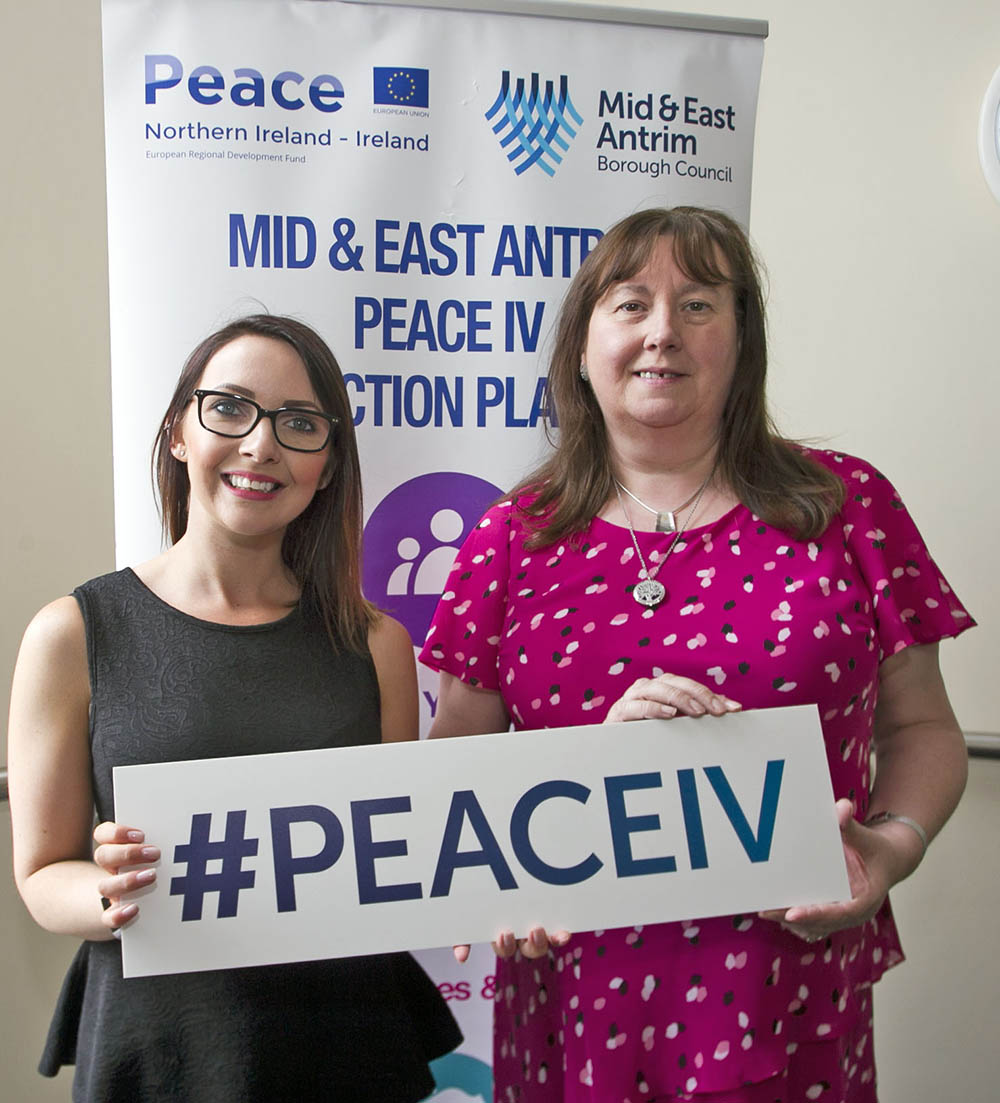 Caeris Armour, LEDCOM with Chairperson of the Mid & East Antrim Peace IV Partnership, Ald Maureen Morrow