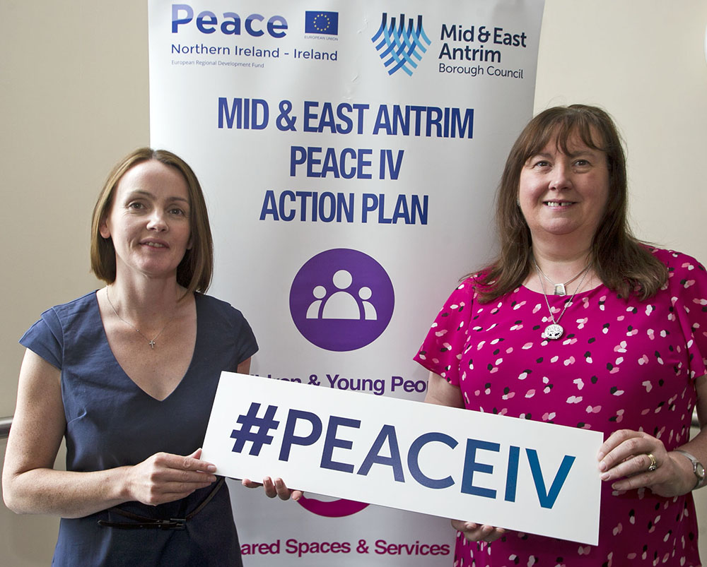 Breige Conway, North Antrim Community Network with Chairperson of the Mid & East Antrim Peace IV Partnership, Ald Maureen Morrow