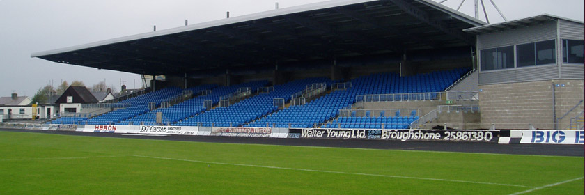 Photograph of the main stand at the Ballymena Showgrounds