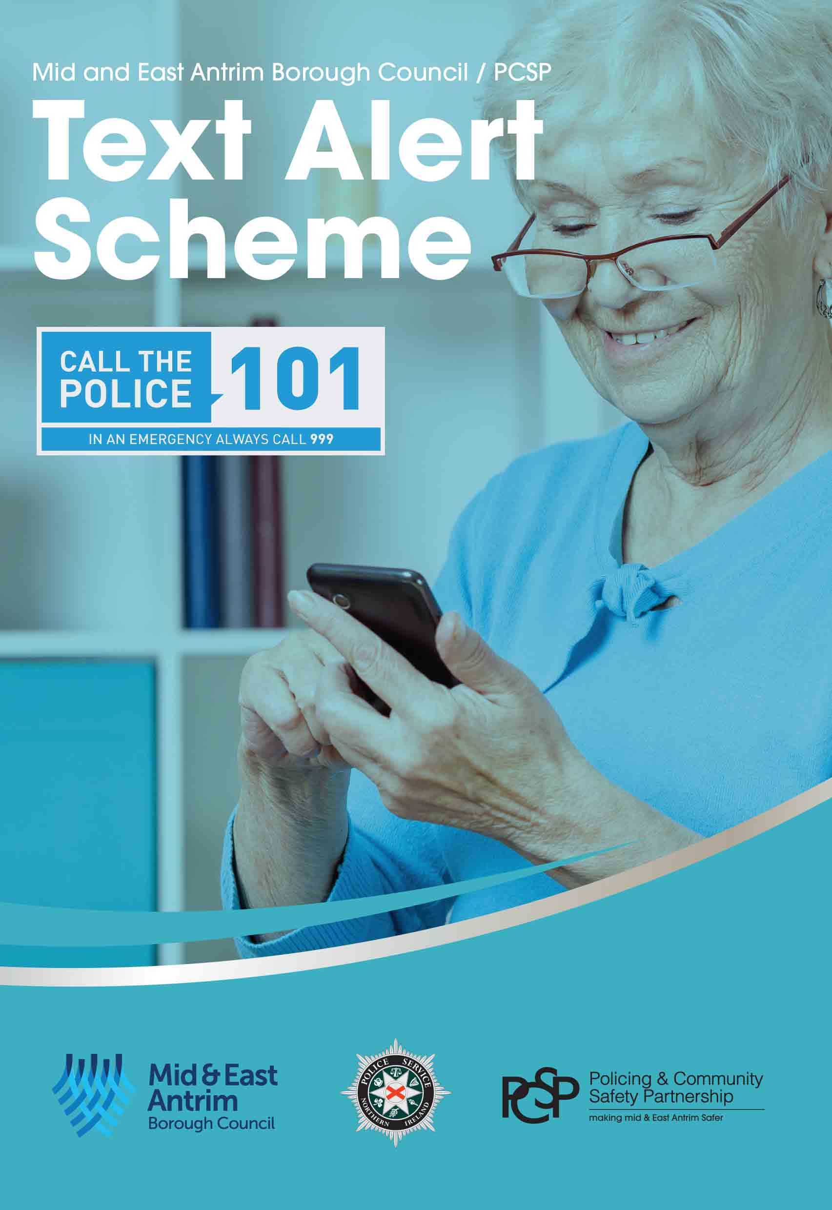 cover of the Text Alert Scheme flyer showing a older woman smiling at her mobile phone