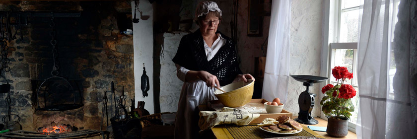 Photograph of breadmaking in Arthur Cottage