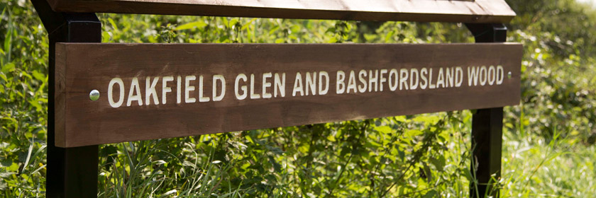 Photograph of the entrance to Oakfield Glen linking to Bashfordsland Wood