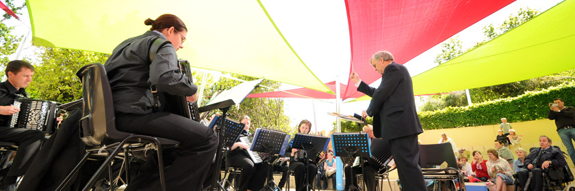 Photograph of a brass band playing at Carnfunnock