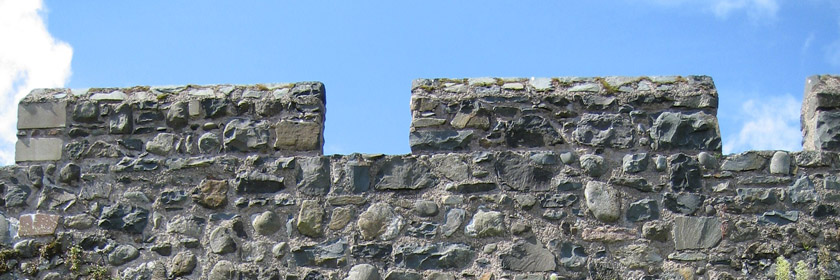 Photograph of the top of a section of the Carrickfergus Town Walls