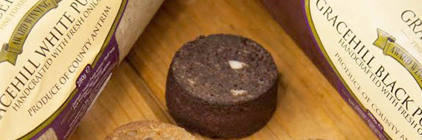 Photograph of Gracehill Fine Foods' white and black puddings