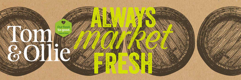 Image of the Tom and Ollie web logo with the text: Always Market Fresh