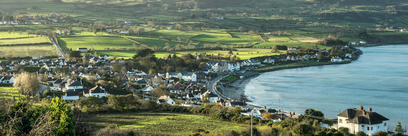 Photograph looking down over Ballygalley town