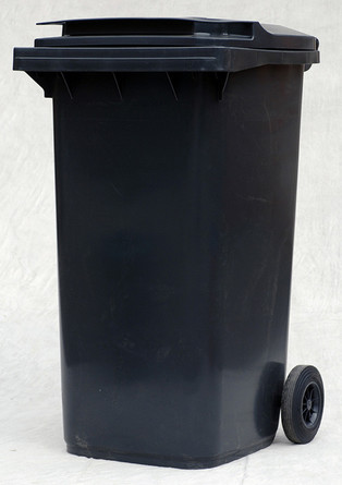 Photograph of a black wheelie bin