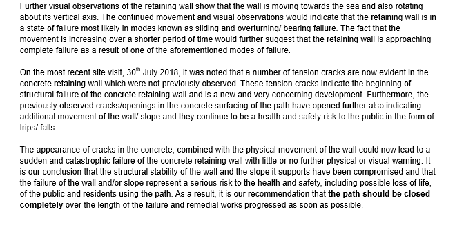Extract from structural engineer's report on Blackhead Path