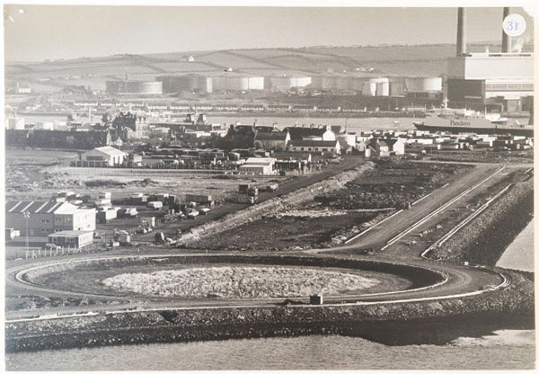 Photograph showing construction of the new road and roundabout in Larne