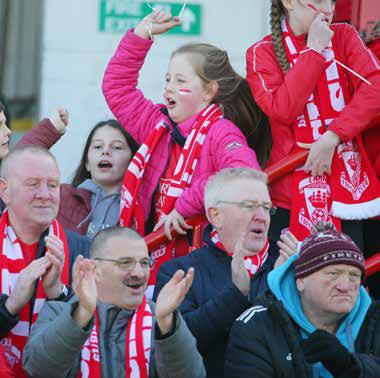 larne united football club fans at a football match