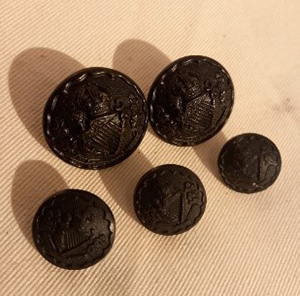 Buttons from a Royal Ulster Constabulary uniform.