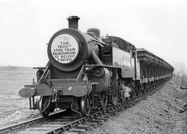 One of the last steam trains to operate in Northern Ireland, known as the 'Spoil Trains' transported rubble from Maghermorne Quarry to Belfast for four years during the construction of the M2