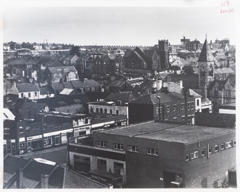 Rooftop view looking over the Upper Main Street Larne area.