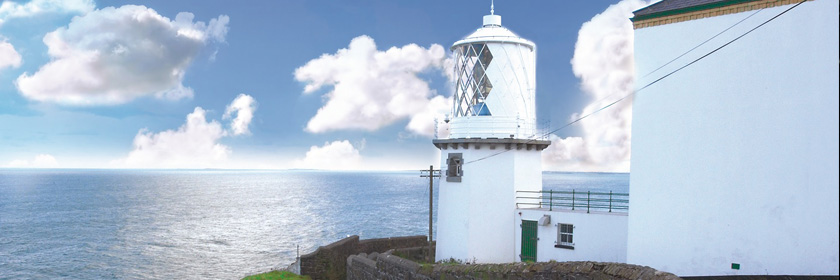 Photograph of Whitehead lighthouse and Irish Sea