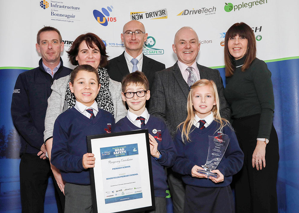Moorfields Primary School won the Primary School Road Safety Initiative at Northern Ireland Road Safety Awards 2018