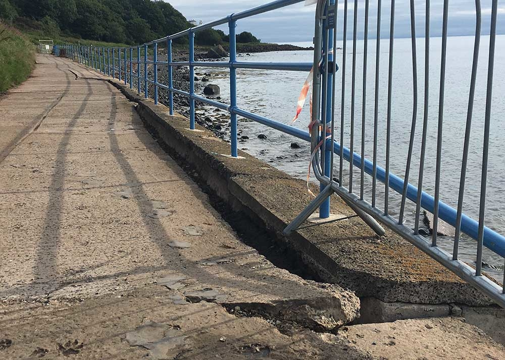 damage at the Blackhead Path walkway