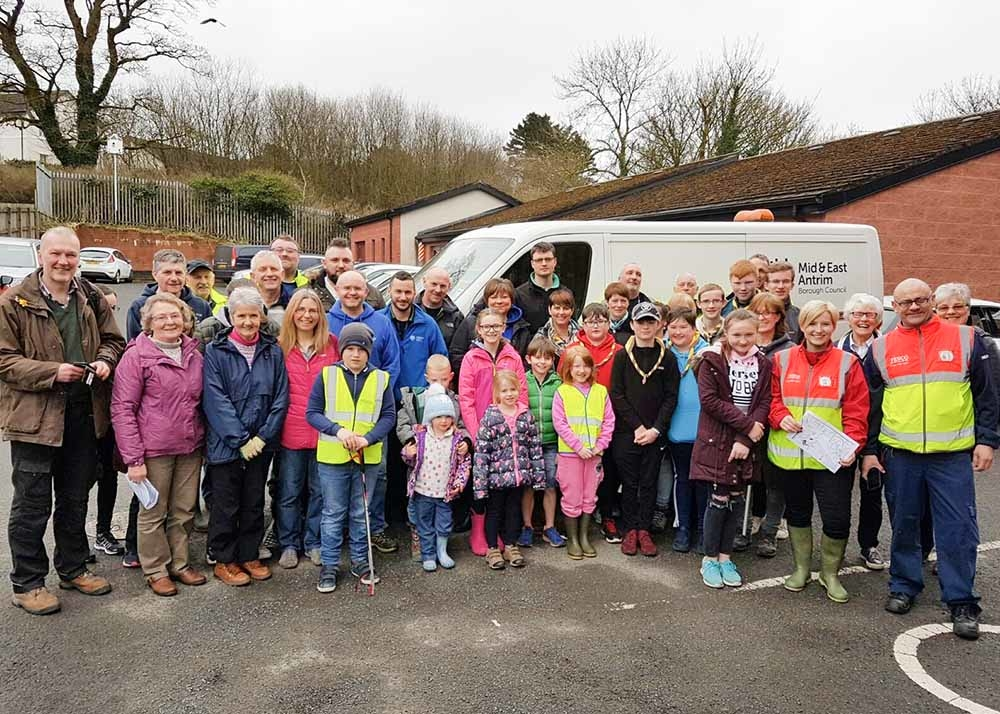 Volunteers clean up during community litter collection in Cullybackey