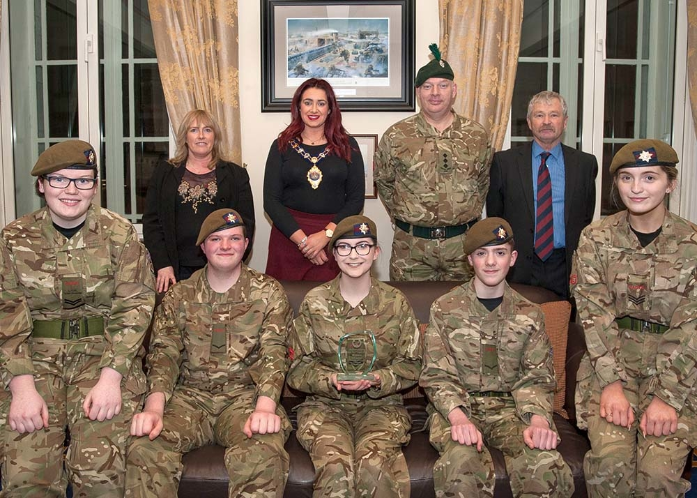 The Mayor of Mid and East Antrim, Councillor Lindsay Millar, pictured with the Cullybackey Cadets who recently won the Northern Ireland Local Heroes competition.