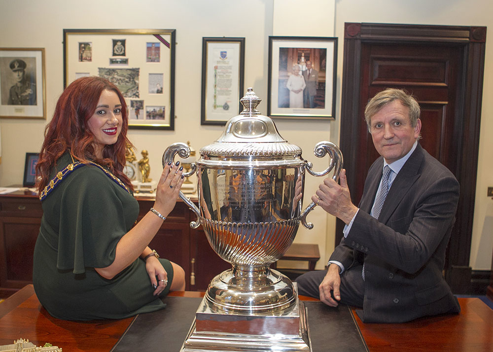 The Right Honourable Christopher Brooke was the special guest of Mayor Cllr Lindsay Millar as the cup was presented on loan to Mid and East Antrim Borough Council.