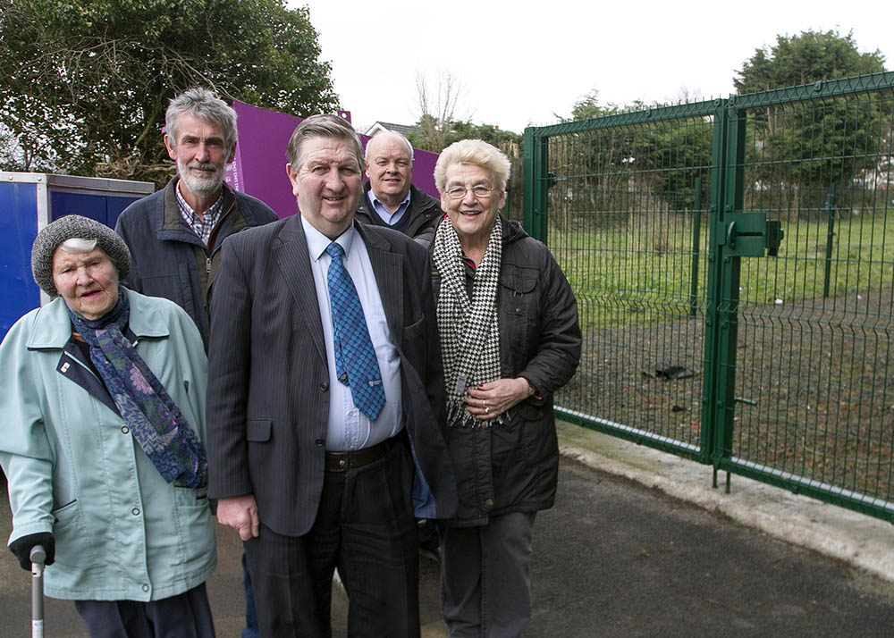Cllr William McNeilly, pictured with Community Association members, Anne Cameron, Nora Neeson, Dessie Dixon and Stuart Knowles at the proposed new play park site in The Grange.