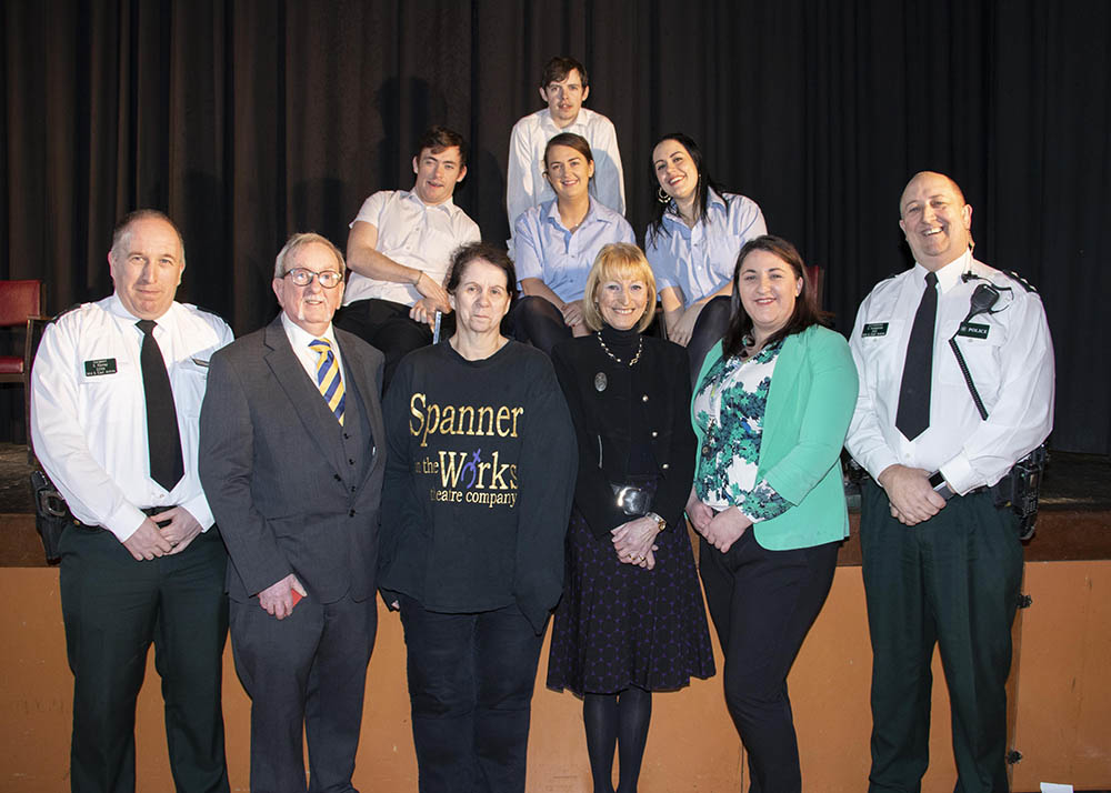 The cast of Read All About It pictured with PSNI's Stephen Rainey, David McCann of Ballymena Learning Together, Patricia Downey Spanner in the Works, Elma Lutton Cambridge House, MEABC's Bebhinn McKinley and Chief Inspector Stephen Humphries