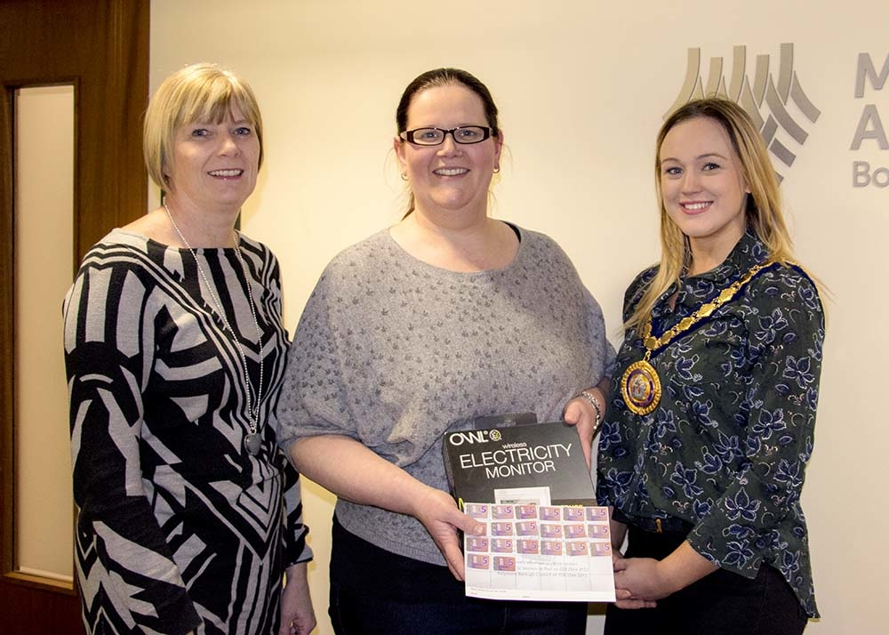 Karen Bruce from Mid and East Antrim Borough Council, competition winner Lisa Doherty, and Deputy Mayor of Mid and East Antrim Councillor Cheryl Johnston