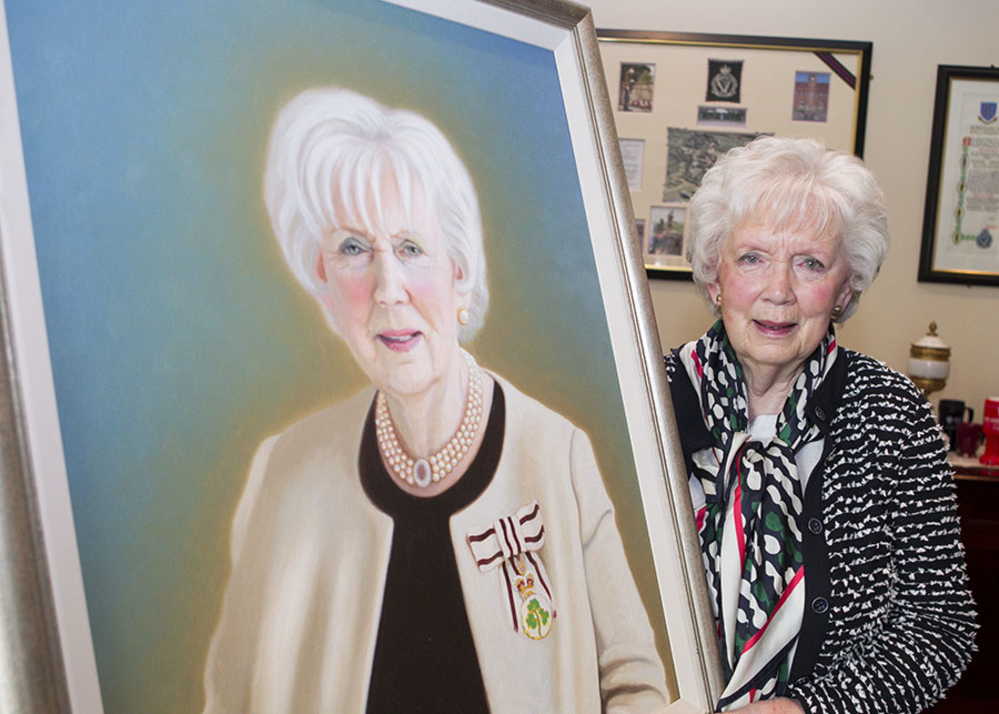 Joan Christie was presented with a portrait by the Mayor of Mid and East Antrim, Councillor Lindsay Millar and Councillor Paul Reid.