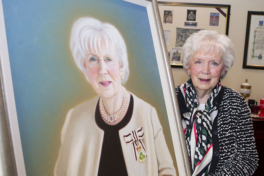 Council present Mrs Joan Christie CVO OBE with portrait image