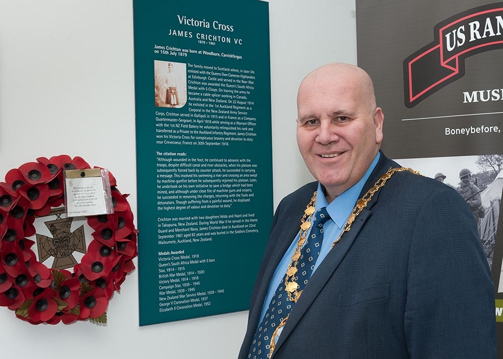 Mayor Cllr Paul Reid pictured at an exhibition in honour of James Crichton VC