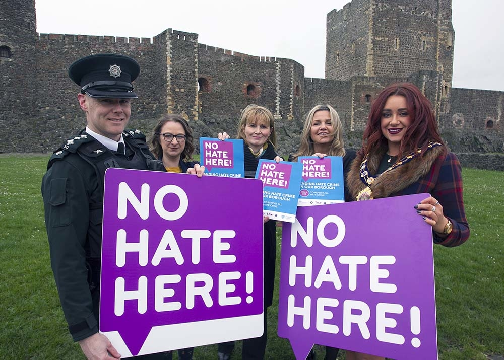 Mayor of Mid & East Antrim, Cllr Lindsay Millar, pictured launching the No Hate Here campaign at Carrickfergus along with Chief Inspector, Michael Simpson, Mid & East Antrim Council Director of Community, Katrina Morgan, and Natasha Taylor and Boryana Tad