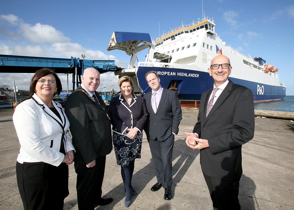 Karen Hastings, the Council's Investment and Place Manager; Mayor of Mid & East Antrim Council, Cllr Paul Reid; Kim Swan, P&O Ferries Head of Freight, Irish Sea; Anthony Van Damme, Harbour Master for Port of Larne; and Roger Armson, P&O Ferries Head of
