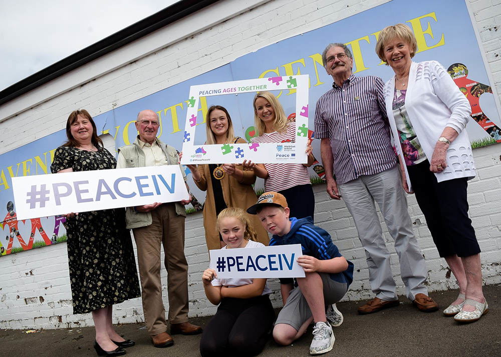 Deputy Mayor Cllr Cheryl Johnston with Alderman Maureen Morrow Chairperson of the Mid and East Antrim Peace IV Partnership, MEAAP Peace IV Project Officer Sarah McLaughlin and representatives from Doury Road Youth Group and Alzheimer's Society