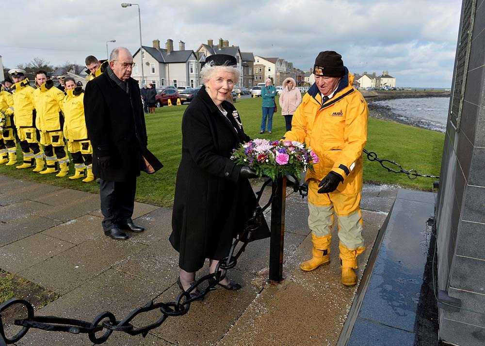 Mrs Joan Christie CVO OBE, Her Majesty's Lord-Lieutenant of Co Antrim, laid a wreath at the memorial site for those who perished in the disaster.