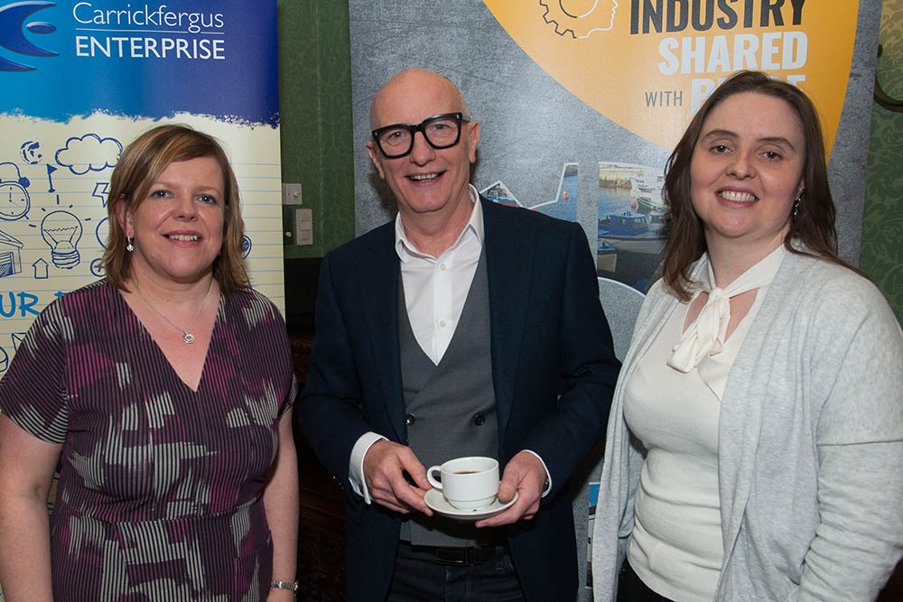 Colin Neill of Hospitality Ulster with Kelli Baghus of Carrickfergus Enterprise and Jayne Clarke, Museum & Heritage Manager Mid and East Antrim Museum & Heritage Service.