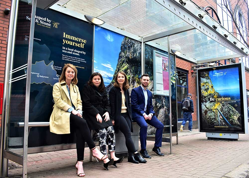 Nicola McNaughton from PML, Lauren McNerlin from ClearChannel, Emma Weir AV Browne and Mark McGrann from Mid and East Antrim Borough Council, pictured in Belfast City Centre